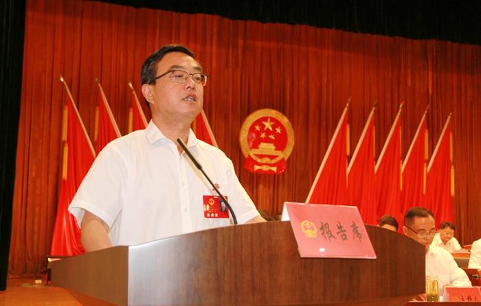 县人大常委会主任汪洁在县十六届人大四次会议上作人大常委会工作报告